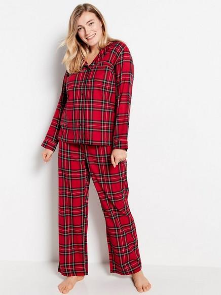 Ruudullinen pyjamasetti Punainen