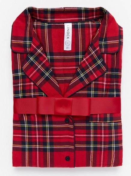 Kostkovaná pyžamová souprava Červená