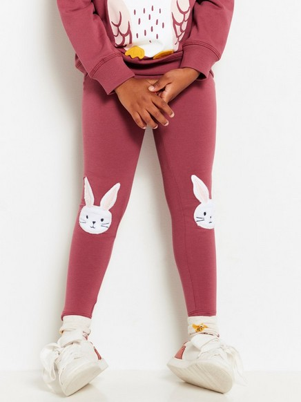 Jersey Leggings with Bunnies Pink