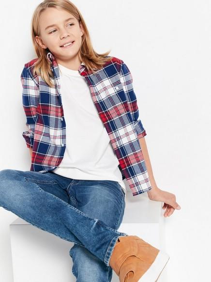 Kostkovaná flanelová košile Červená