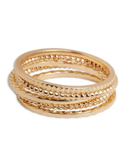 Sada 5prstenů zlaté barvy Žlutá