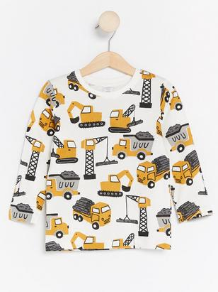 Long Sleeve T-shirt with Excavators White