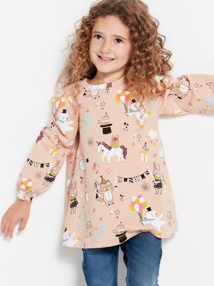 Patterned Long Sleeve Tunic Pink