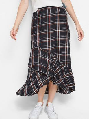 Checkered Skirt with Flounce Brown
