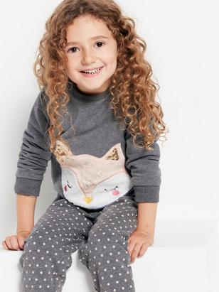Sweatshirt with Fluffy Animal Appliqué Grey
