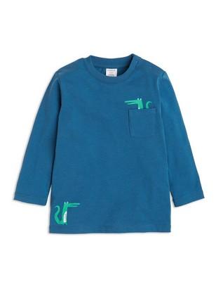 T-shirt with Crocodile Print Blue