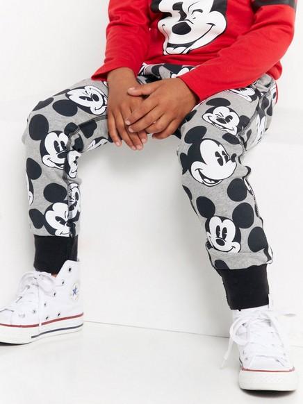 Tepláky spotiskem postavičky Mickey Mouse Šedivá