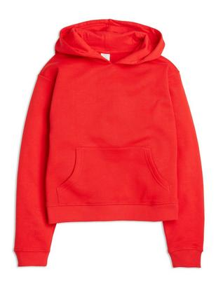 Cropped Hooded Sweater Red