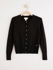 Fine-knit Black Cardigan  Black