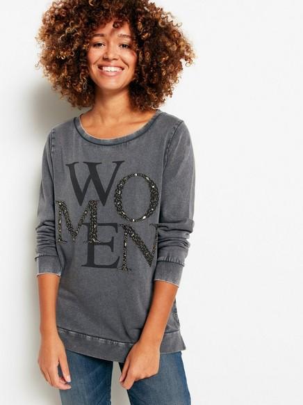 Sweatshirt med print och pärlor Grå