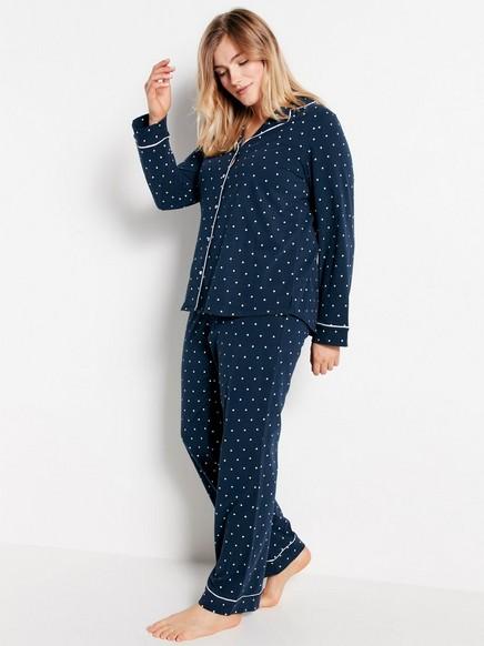 Puntíkovaná pyžamová souprava Modrá