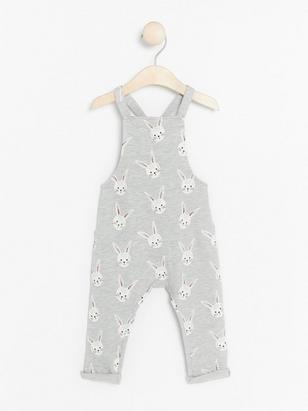Bib Trousers with Rabbit Print Grey