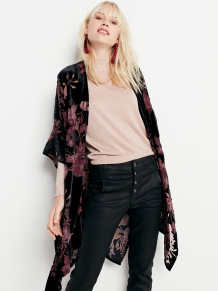Sametové kimono Černá