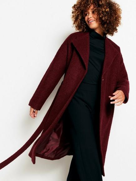 Kabát ze směsi vlny Červená