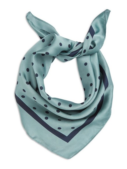 Satin Scarf with Dots Blue
