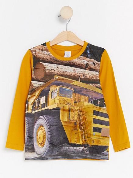 Pitkähihainen t-paita, jossa painatus Keltainen