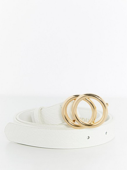Belt with Gold Coloured Buckle White