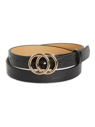 Belt with Gold Coloured Buckle Black