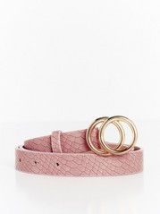 Belt with Gold Coloured Buckle Pink