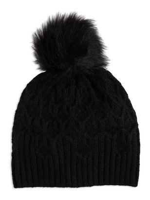 Knitted Cap with Pom Pom Black