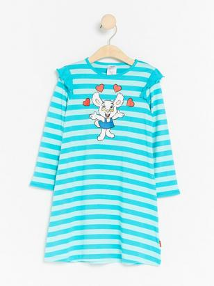 Night Dress with Bamse Print Turquoise