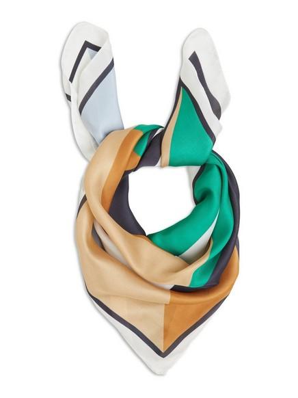 Blockmönstrad satin scarf Vit