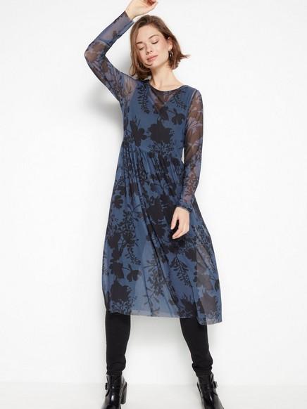 Vzorované šaty ze síťoviny Modrá