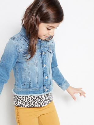 Denim Jacket with Pearls Blue