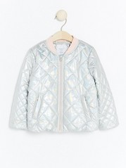 Quilted Padded Silver Jacket Metal