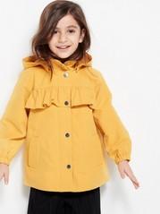 Parka-takki, jossa röyhelö Keltainen
