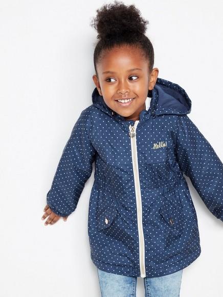 Pehmeä parka-takki, jossa pilkkuja Sininen