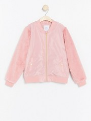 Bomber Jacket with Fake fur Sleeves Pink