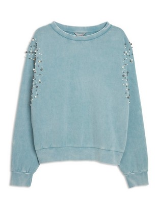 Sweatshirt with Pearls Blue