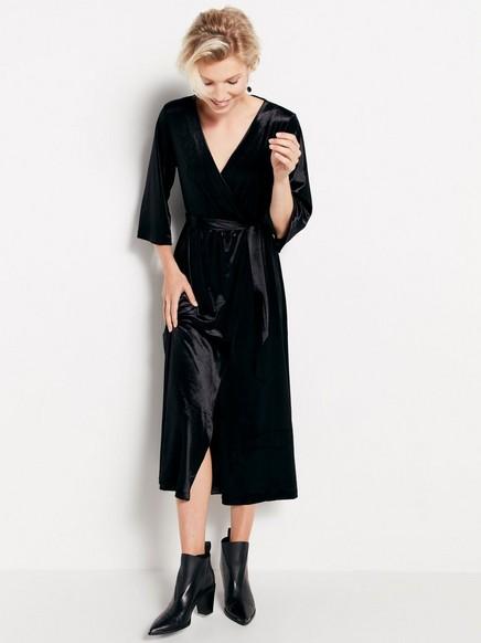 Černé sametové šaty Černá