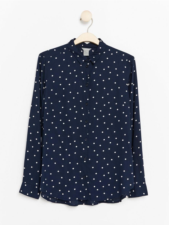 Långärmad skjorta i viskos Blå