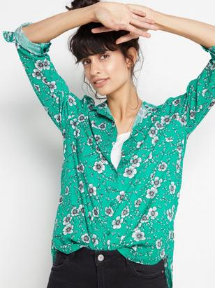 Långärmad skjorta i viskos Grön