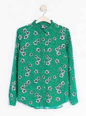Long Sleeve Viscose Shirt  Green