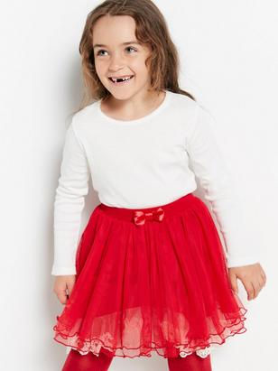 Tulle Skirt with Lace Red