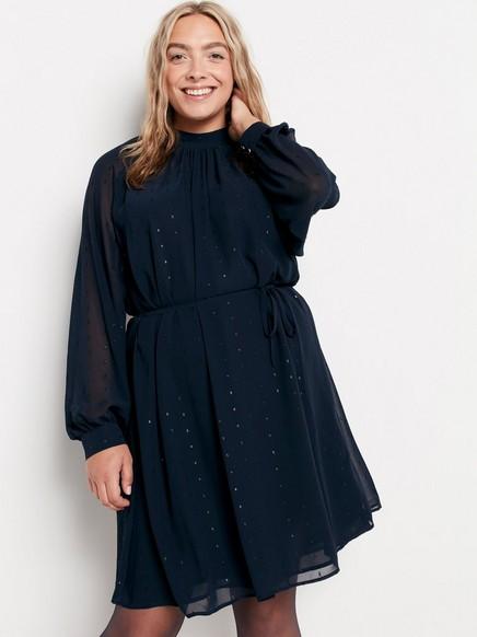 Modré šaty sdlouhým rukávem Modrá
