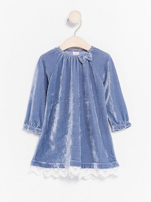 Velour Dress with Lace Blue