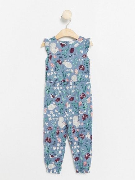 Jumpsuit with Floral Pattern Blue
