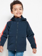 Jacket with Stripes on Sleeves Blue