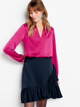 Skirt with Flounces Blue