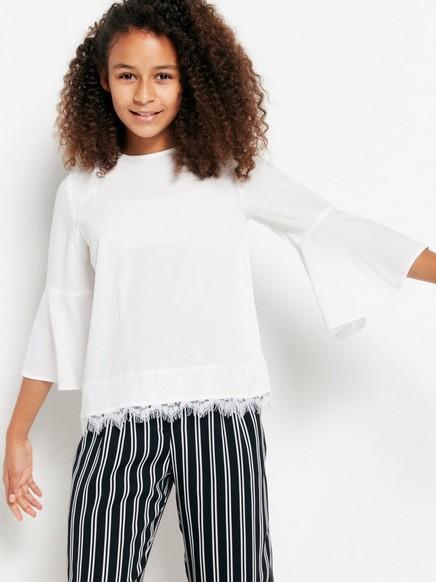 Bluse med blonder Hvit
