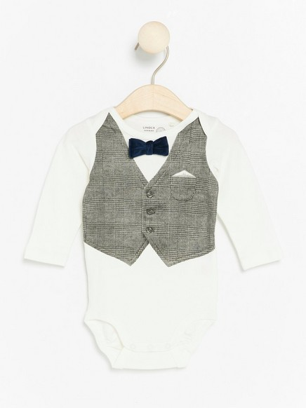 Bodysuit with Waistcoat Print and Bow Tie White