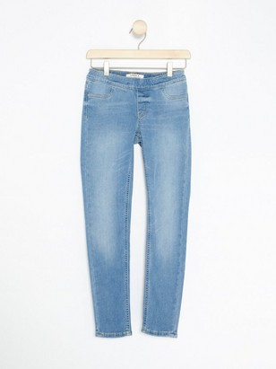Slim Jeggings with Brushed Inside Blue