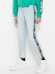 High Waist Jeans with Side Panels Blue