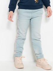Loose Jeans with Side Stripes Blue