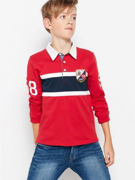 Langermet rugbyskjorte Rød