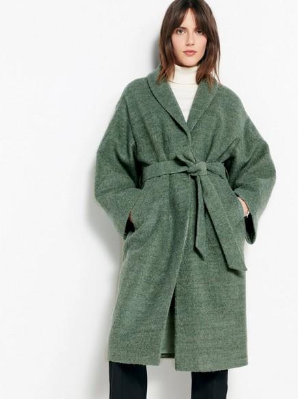 Kabát ze směsi vlny se zavazovacím páskem Zelená